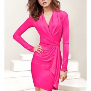 Victoria's Secret hot pink faux wrap dress